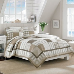 Nautica - Nautica Oakhurst Reversible Quilt - A gorgeous addition to any bedroom, the Oakhurst quilt features a yarn-dyed patchwork plaid that blends together stylish patches of solids and stripes. This soothing and comfy quilt is finished with a beautiful border and reverses to a neutral pinstripe.