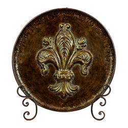 Woodland Imports - Classic Style Metal Plate Stand Brown Gold Fleur De Lis Home Decor 41734 - Classic style metal display plate on stand in aged rust brown finish with gold Fleur De Lis detail home accent decor