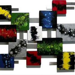 Alisa Diva - Colorful Fluidity Wood and Metal Wall Hanging - The color is flowing but subtly so; the red, black, green, yellow and gray are muted and covered with craft-like sprinkles. Order the Colorful Fluidity Wood and Metal Wall Hanging if soft colors are your forte. This wonderful piece of art can be mounted in your living, dining or bedroom areas because it's a very versatile contemporary piece. This wall hanging can be combined with mirrors, wrought iron or Oriental scenes and can be mounted over a mantle or in a foyer. Forty inches will nicely fill a wall of an average size room or enclosed porch.