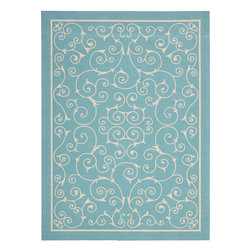 "Nourison - Nourison Home and Garden RS019 (Light Blue) 7'9"" x 10'10"" Rug - Add some excitement to any surrounding with these magnificent indoor/outdoor rugs. Floral, scrollwork, and animal-skin patterns in vivid color make this a truly eye-catching collection. These versatile rugs are beautiful to look at, soft to walk on, easy to clean by just hosing down and can withstand almost all outdoor conditions. Indoor or Outdoor Uses UV Protected Mildew Proof Fade Resistant Easy Clean: Just Rinse with a Hose"