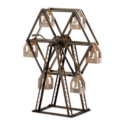 Cyan - Ferris Wheel Candleholder - Round and round and round it goes. This sturdy candleholder is a nod to the classic fairground ride. With
