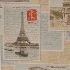 Paris postcard fabric French vintage letters documentary, Standard Cut - A Paris postcard fabric with vintage French letters and stamps! A documentary print fabric with all the charm of Paris, France.
