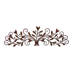 Scrolling Metal Olive Branch Over the Door Wall Decor 48 In. - This metal olive leaf wall scroll is perfect to hang above doors and hallways anywhere in your home, office, or restaurant. It measures 48 inches long, 14 1/2 inches high, and mounts to the wall with 2 nails or screws by the hangers on the back. It is painted with reddish brown and green enamels with a slightly distressed finish. This piece makes a lovely gift, and is sure to be admired.