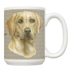 495-Yellow Lab Mug - 15 oz. Ceramic Mug. Dishwasher and microwave safe It has a large handle that's easy to hold.  Makes a great gift!