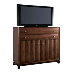 American Drew - American Drew Miramar 2 Door Media Chest in Auburn on Prima Vera - Belongs to Miramar Collection by American Drew, Auburn on Prima Vera Finish, Smoky Brown Accents, 2 Doors, 2 Drawers, Power Strip, Media Chest 1