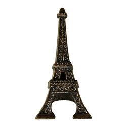 Eiffel Tower Bottle Opener - Antique Bronze - A bottle opener, while utilitarian, can also be unique. Invite your cherished guests to imbibe in a refreshment after opening a bottle of your favorite libation with the Cast Iron Eiffel Tower Bottle Opener. Hand-painted with matte bronze, the opener doubles as an admired decoration for your home bar whether it's located indoors or on the patio.
