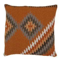 Damanis Pillow in Rust - The geometric pattern of our Damanis Pillow offers earthy tones that look great with just about any palette. The tone on tone neutral colors create a soft, but interesting decorative accent for your sofa or bed.