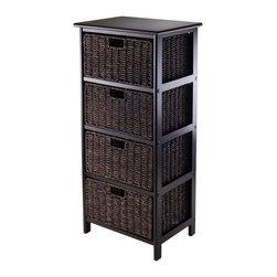 Winsome - Omaha Storage Rack with 4 Baskets -Black Finish - Omaha Storage Rack with 4 Baskets, Black Finish