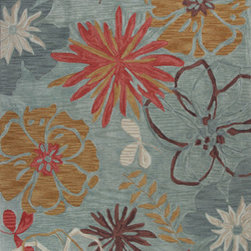 "Kas - Wildflowers Ocean Anise Floral 7'9"" x 9'9"" Kas Rug  by RugLots - KAS carries over 40 different collections of fine handmade and machine-made rugs, covering a range of low to high-end price points. You will find looks to suit all your lifestyles varying from traditional or elegant designs to bold contemporary patterns to casual and themed styles. KAS is well known for being in the forefront of innovation and design and continues to bring the most unique constructions and latest design and color trends to market."