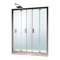 "BathAuthority LLC dba Dreamline - Butterfly Frameless Bi-Fold Shower Door, 58 - 59 1/2"" W x 72"" H, Chrome - The Butterfly collection of shower doors offers a beautiful frameless design paired with a space saving bi-fold action. The collection includes two models. One is perfect for a standard size shower space, while the other provides a great solution for a small bathroom renovation. The smart bi-fold action allows the panels to slide and fold creating an ample walk-in opening to maximize space. Wall profiles provide a flexible installation with adjustability for width and out-of-plumb walls."