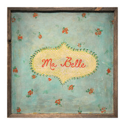 """Kathy Kuo Home - Ma Belle' Turquoise Red Painted Vintage Wall Art - You'll swoon for this sweet, sentimental art piece that proclaims """"My Beautiful"""" in French. The flowery print has the feel of vintage fabric, thanks in part to a textural look reproduced from the original work."""