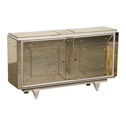 French Art Moderne Mirrored Cabinet, Two Doors - The HighBoy, Carl Moore Antiques