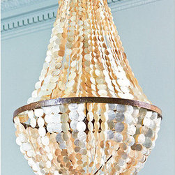"Ballard Designs - Alessandra 5-Light Chandelier - Includes 3' hanging chain. 5""Diam. ceiling canopy. This spectacular fixture is crafted entirely by hand from hundreds of cascading natural capiz shells. Light shines through the lustrous, opaque coins for a romantic glow in the dining room or entry. Metal loop frame is hand finished in light antique gold. Alessandra 5-Light Chandelier features: . ."