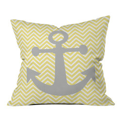 DENY Designs - Lara Kulpa Yellow Anchor Outdoor Throw Pillow - Do you hear that noise? it's your outdoor area begging for a facelift and what better way to turn up the chic than with our outdoor throw pillow collection? Made from water and mildew proof woven polyester, our indoor/outdoor throw pillow is the perfect way to add some vibrance and character to your boring outdoor furniture while giving the rain a run for its money. Custom printed in the USA for every order.