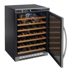 "Avanti - 54 Bottle, Built-In or Free-Standing Wine Cooler, stainless steel frame w/ mirro - 54 bottle wine cooler, built-in or free standing application, Mirror Finish on door, wooden shelves on a sturdy pull-out roller assembly, soft touch dual function electronic display for monitoring temperature (F/C), one touch digital control for red, white or sparkling wine, one touch ON/OFF interior cavity light control, built-in interior fan for temperature control, large stainless steel handle, unit dimensions 33.75""H x 23.5"" W x 23"" D"