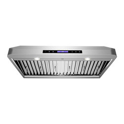 GOLDEN VANTAGE - GV 36-Inch Stainless Steel Under Cabinet Range Hood W/Baffle Filter And Cleaner - Our Contemporary Europe design range hoods capture the most pollutants, grease, fumes, cooking odors in a quiet way but maintain a strong CFM From 300-900 depends on the style or model you choose. GV products not only provide top notch quality of material, we also offer led lighting, quiet chamber blower,adjustable telescopic chimney. All of our range hoods can convert to ventless/ductless options if outside exhaust not permitted.