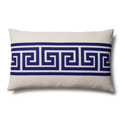 5 Surry Lane - Greek Key Lumbar Home Decor Accent Pillow, Navy - Our stylish Greek Key pillow, inspired by the classic Greek Key design, is an exceptional addition to either traditional or contemporary d̩cor. It's bright hue and poppy pattern will add a playful chic vibe to your space. 100% cotton.  Wash in cold water with mild detergent.  Down insert included. Hidden zipper closure. Made in the China.
