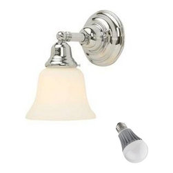 Design Classics Lighting - Single-Light Sconce with Bell Shade and LED Bulb - 671-26/G9110  8W LED - Transitional chrome 1-light sconce with 9.5-watt LED light bulb, equivalent to 60-watts incandescent. A chrome finish make this sconce the perfect choice for bathrooms, kitchens, and hallways. Features a medium base with white diffuser and vented heat sink. Takes (1) 9.5-watt LED A19 bulb(s). Bulb(s) included. Dry location rated.
