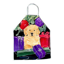 Caroline's Treasures - Golden Retriever Apron SS8581APRON - Apron, Bib Style, 27 in H x 31 in W; 100 percent  Ultra Spun Poly, White, braided nylon tie straps, sewn cloth neckband. These bib style aprons are not just for cooking - they are also great for cleaning, gardening, art projects, and other activities, too!