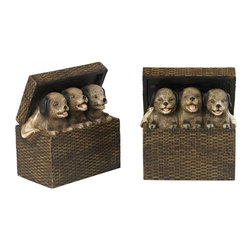 Sterling Industries - Composite Natural Rattan Tones Pups In A Basket Bookends - Composite Natural Rattan Tones Pups in a Basket Bookends