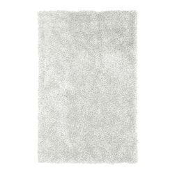 iCustomRug - Mercedes Shag Rug, White, 9'x12' - This bodacious rug is stylish, trendy and will glam-up any space. Crafted in 100% polyester this rug is non-allergenic and cleans easily. The varying fiber sizes add a textured appearance to this shimmering metallic rug that is unrivalled in softness. Even with the long fibers this rug fits easily under furniture and will create an upscale look.