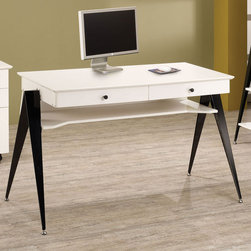 Coaster - Lori Computer Desk - Create a home office that is stylish and functional. This contemporary styled collection offers a spacious work area and plenty of storage. The high gloss white finish creates a stunning contrast with the black metal legs and matching hardware. Mobile cart features caster wheels for added mobility.