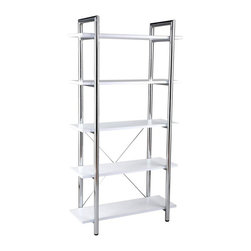 Euro Style - Euro Style Laurence Leather Bookshelf - White - 27853 - Shop for Bookcases from Hayneedle.com! Luckily there's a one-step program for discarding antique bookshelves: the Euro Style Laurence Leather Bookshelf - White. A captivating chromed steel frame paired with five engineered wood shelves covered in vibrant white genuine leather is sure to evoke irreverent delight. Enclosed shelving is restrictive and stifles scalability. Break free with unbridled open-air shelving ensured to grow with the amount of your treasures. Adjustable feet compensate for uneven floor surfaces. This bookshelf is commercial-grade tough.When did you last receive a bookshelf-related compliment? Well it's time to change that. Useful in the kitchen as well for storage or bakers rack for cookbook or display items.About Euro StyleEuro Style is more than a brand name. It's a complete design approach for furnishing the living room dining room kitchen and office. Most Euro Style furniture can be assembled in under 15 minutes. Some can be assembled in under five minutes. Assembly instructions and the few tools you might need come inside the carton. Today there are hundreds of Euro Style products with new ones arriving every month. You'll discover Euro Style offers the right design at the right price.