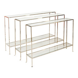 Worlds Away - Worlds Away - Woodard Skinny Console - Woodard-Small, Nickel - The versatile Woodard skinny console blends into any decor thanks to its narrow lines, minimalist design and chic style. In plated nickel with simple glass shelves, this Worlds Away table finds its place behind a sofa or under a window.