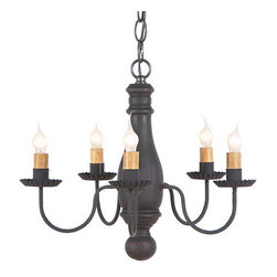 Bed & Breakfast Chandelier in Hartford colors, Black Over Red - A petite well proportioned chandelier to use in your hallway, small entryway or mudroom. Our Bed & Breakfast Chandelier is shorter and more compact than many of our other chandeliers giving you more flexibility to use a chandelier in different areas of your home.
