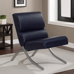 None - Rialto Navy Bonded Leather Chair - The sophisticated Rialto accent chair is sure to add fresh appeal to your home decor. This fascinating piece offers a shiny brushed silver metal frame finish,and a luxurious navy-colored bonded leather upholstery.