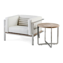 Link Outdoor Furniture - - Echo Lounge Chair with cushions and Echo Side Table (c) 2012 Link Design Solutions