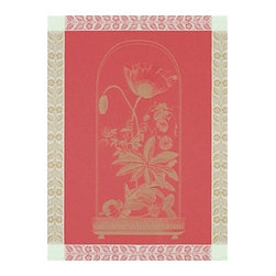 Le Jacquard Francais - Le Jacquard Francais Curiosities Florales Poppy Tea / Kitchen Towel 24 x 31 - A series of etchings of strange and colourful curiosity cabinets. Six colours to collect on a mineral, floral or animal theme.Damask fabric, 100% Pure cotton colored warp and weft.