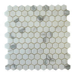 "Calacatta - Calacatta 1"" Hexagon Polished Mosaic - Calacatta 1"" Hexagon Polished Mosaic - Stunning Italian Calacatta Hexagon with an elegant Polished finish. The perfect choice for a shower floor, bathroom floor or tub surround."