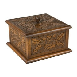 Acorn Pattern Square Box - 6.25W x 3.5H in. - The delicately carved design of the Acorn Pattern Square Box will complement almost any decor. Constructed of durable resin this piece has been finished to give the look of carved wood with an English Oak finish. Features a carved acorn design and a relief carved acorn topper. Lid lifts to reveal a generous storage area with lined bottom. It's the perfect size for a watch cufflinks and jewelry. Measures 6.25W x 6.25D x 3.5H inches. About OK Casting LLCSince 1993 OK Casting has been serving the home gift and private artist market with memorable home decorative accessories. Hand-made and manufactured in the United States OK Casting's products are created from the finest and most durable resins. Whether for their lamps wall decor bookends or statutes OK Casting is known for exquisite craftsmanship and attention to detail. Inspired by lodge wildlife and equine artwork each piece radiates beauty and quality for your home cabin or lodge decor.