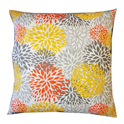 Chrysanthemum Pillow - Bursting with a pretty palette of gray, yellow and orange, our Chrysanthemum Pillow is the perfect accent for your indoor or outdoor setting. Also available in lumbar size.