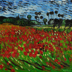 overstockArt.com - Van Gogh - Field of Poppies - Hand painted oil reproduction of one of the most famous Van Gogh paintings, Field of Poppies. The original masterpiece was created in 1889. Today it has been carefully recreated detail-by-detail, color-by-color to near perfection. Why settle for a print when you can add sophistication to your rooms with a beautiful fine gallery reproduction oil painting? Vincent Van Gogh's restless spirit and depressive mental state fired his artistic work with great joy and, sadly, equally great despair. Known as a prolific Post-Impressionist, he produced many paintings that were heavily biographical. This work of art has the same emotions and beauty as the original by Van Gogh. Why not grace your home with this reproduced masterpiece? It is sure to bring many admirers!