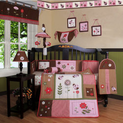 """Geenny - Boutique Ladybug Flower 13 Piece Crib Bedding Set - This listing is for a 13 piece beautiful Geenny brand new crib set with all the bundle you will need. This set is made to fit all standard cribs and toddler beds. The whole set comes with 10 pieces plus 3 new wall art decor hangings, which comes out as a total 13 piece bundle. The set is made by Geenny Designs, well known as Nursery Series Products Designs. All bundled pieces are in a brand new zippered, handled carrying bag. Dress up and decorate your baby's room with this beautiful 13 piece crib bedding set. Features: -Set includes: Crib quilt, two valances, skirt, crib sheet, bumper, diaper stacker, toy bag, two pillows, three wall hangings. -Material: 65 / 35 Percent of Polyester / Cotton. -Crib quilt: 45"""" H x 36"""" W. -Crib bumper: 10"""" W x 158"""" D. -Fitted crib sheet: 52"""" H x 28"""" W. -Window valances: 16"""" H x 58"""" W. -Crib skirt: 28"""" H x 52"""" W. -Toy bag: 20"""" H x 14"""" W. -Decorative accent pillows: 10"""" H x 10"""" W. -Machine washable."""
