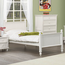 Homelegance - Homelegance Whimsy Kids' Panel Bed in White Full - Today your little girl loves purple tomorrow white or maybe green or was it yellow? The Whimsy Collection offers her the option to customize her room to reflect those fantastic whims of youth. Each front drawer panels of the case pieces can be flipped to reveal a different color floral motif. The cottage style collection features cases goods that have been scaled to fit into your child s world. - 2001F-FL.  Product features: Cottage style; Four Poster Bed; White Finish; Available in Twin and Full sizes. Product includes: Headboard (1); Footboard (1); Rails (1); Slats (1). Kids' Panel Bed in White belongs to Whimsy Collection by Homelegance.