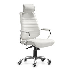 Zuo Modern - Enterprise High Back Office Chair White - Be the captain of your office with the Enterprise chair series. The perfect command seat, the Enterprise has a solid chrome frame wrapped in a supple leatherette. Comes in either a high or low back chair on wheels or a sturdy conference chair.