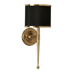 "Currey & Company - Currey & Company Primo Black Wall Sconce - The Currey & Company Primo wall sconce exudes captivating mid-century modern allure. Bold in black, the light fixture's shade receives a compelling accent with a striking brass spire. 8""W x 8""D x 19""H; Accepts 60W max bulb (not included); Hardwired"