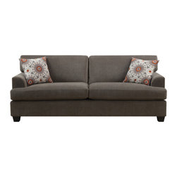 Emerald Lorena Platinum Gray 2-Pillow Sofa - If lounging is your thing, then you'll love this platinum gray sofa. Its comfortable and ample cushions will provide tons of relaxing hours.