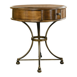 Hammary - Siena Round Storage End Table - Shaped tops and sand saw legs. Hand-planed. Shelf made from wrought iron and unique brass hardware. Limited warranty. Made from birch solids, veneers and wood. Tuscany finish. 28 in. Dia. x 30 in. H