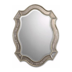 Uttermost - Uttermost 08026 B  Felicie Oval Gold Mirror - This shapely mirror features golden antiqued, etched mirrors accented by heavily antiqued gold leaf beaded edges. may be hung either horizontal or vertical.