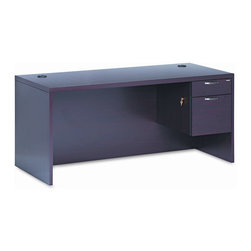 HON - 11500 Series Valido Executive Desk with Right Pedestal - Tops are abrasion- and stain-resistant to maintain a neat appearance. Grommets on worksurface for cable management helps reduce accidents. Locking drawers protect valuables and secures contents. Five-sided drawers operate on ball bearing suspension for easy opening. File drawers extend fully and have hang rails for side-to-side and front-to-back filing. ''One Key'' core removable lock for easy re-keying. Brushed brass sweep pull for an elegant look. Features: -Top material: Thermally Fused Laminated High-Density Particleboard.-Frame material: Thermally Fused Laminated High-Density Particleboard.-Pedestal Drawers: Right: Box/File.-Corner/Edge Style: Ribbon Edge.-Number of Pedestals: 1.-Top Shape: Rectangular.-Global Product Type: Desks-Single Right Pedestal Desk.-Compliance, Standards: Indoor Advantage-Standard.-Product is in compliance with the governmental EPA/CPG standards for environmental friendly products.-Product is made of at least partially recycled material.-Warranty:The HON Limited Lifetime Warranty..-Distressed: No.-Collection: 11500 Series.-Country of Manufacture: United States.Dimensions: -Maximum Height: 29 1/2 in.-Width: 66 in.-Pedestal type height: 0.75''.-Top Thickness: 1 1/2 in.-Maximum Depth: 30 in.-Overall Product Weight: 247 lbs.