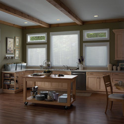Sheer Shade | Traditional Kitchen | Green & White | Kitchen Island - Sheer shades create a soft glow of light