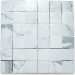 "Stone Center Corp - Calacatta Gold Marble Square Mosaic Tile 2x2 Polished - Calacatta gold marble 2"" x 2"" square pieces mounted on 12"" x 12"" sturdy mesh tile sheet"