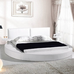 Marqi Signature Queen Bed Frame - Innovative styling, two attached accent tables and a soft leather frame combine to make this Marqi Bed Frame an eye-catching addition to your home decor for years to come.