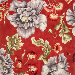 """Kas - Splendor Coral Blue Ruby Floral 8' x 10'6"""" Kas Rug  by RugLots - The Ruby Collection boasts a broad selection of designs, many of them using over twenty colors. Hand-tufted in China with super high-density weave and supported by a bonded back, these wool rugs capture the essence of Chinese artistry. The collection features a unique ensemble of florals, Savonneries, trellises and collages. Vibrant colors combined with sculpted details bring out the depth and beauty in each motif. A special luster wash and finishing of the thick wool pile presents a wondrous softness and shine."""