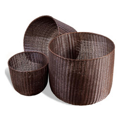 Kathy Kuo Home - Lohman Contemporary Modern Metal Woven Mesh Baskets- Antique Bronze - Flaunting a rounded, open design, the Lohman Baskets add functional, decorative storage space to your home interior.  Made of iron with an antique bronze finish, the Lohman Baskets are durable and versatile, equally suitable for accommodating toys in the playroom or firewood by the fireplace.  Lightweight and designed to nest within one another for easy storage when not in use, the Lohman Baskets will serve as a design-conscious storage option anywhere throughout your home.