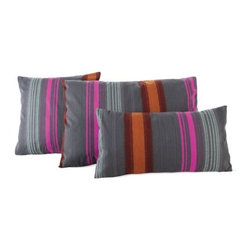 Maharam - Maharam Pillow in Tempera - Maharam Design Studio derives inspiration from beyond the expected boundaries of interior textiles. Through its collaborations with avant-garde industry outsiders and its use of enduring designs of 20th century design visionaries, it continues to build an extensive textile collection that incorporates both a fresh perspective and unexpected media. Painted Stripe (2009) by Maharam Design Studio is densely constructed from fine cotton yarn, which provides superior color saturation of four brightly colored stripes that fade into gradated stripes, mimicking the look of an airbrushed painting. This fabric offers reduced environmental impact and is Greenguard Children and Schoolssm certified for low chemical and particle emissions and may contribute to LEED certification. This fully licensed fabric is produced by Maharam Design Studio. DWR Exclusive.